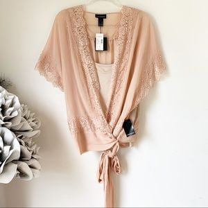Lane Bryant Sheer Pearl and Lace Wrap Top Sz 20
